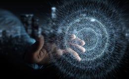 Zakenman die het gebied van de digitaal netwerkverbinding het 3D teruggeven gebruiken Stock Afbeeldingen