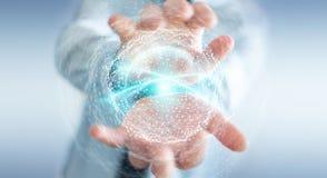 Zakenman die het gebied van de digitaal netwerkverbinding het 3D teruggeven gebruiken Royalty-vrije Stock Afbeelding