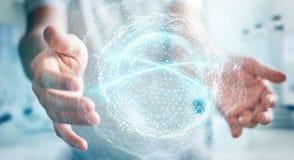 Zakenman die het gebied van de digitaal netwerkverbinding het 3D teruggeven gebruiken Stock Afbeelding