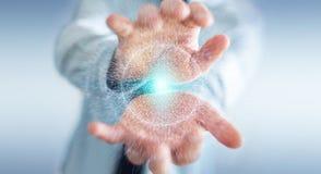 Zakenman die het gebied van de digitaal netwerkverbinding het 3D teruggeven gebruiken Royalty-vrije Stock Fotografie