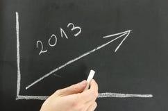 Zakenman die grafiek voor 2013 op een raad tonen. Royalty-vrije Stock Foto