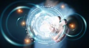 Zakenman die het hologramscherm met digitale datas 3D renderin met behulp van Stock Fotografie
