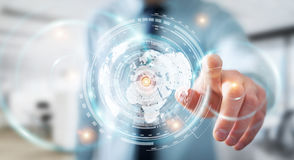 Zakenman die het hologramscherm met digitale datas 3D renderin met behulp van Stock Afbeelding