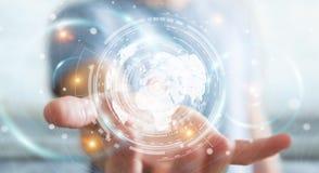 Zakenman die het hologramscherm met digitale datas 3D renderin met behulp van Royalty-vrije Stock Afbeelding
