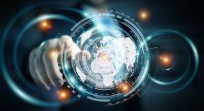 Zakenman die het hologramscherm met digitale datas 3D renderin met behulp van Royalty-vrije Stock Afbeeldingen
