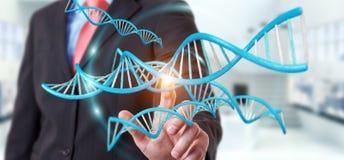 Zakenman die het moderne DNA-structuur 3D teruggeven gebruiken Stock Foto