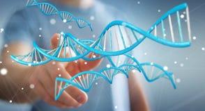 Zakenman die het moderne DNA-structuur 3D teruggeven gebruiken Royalty-vrije Stock Afbeelding