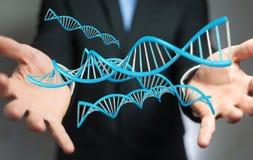 Zakenman die het moderne DNA-structuur 3D teruggeven gebruiken Stock Foto's