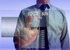 zakenman die het schermstatistieken en grafiek kijken Stock Afbeelding