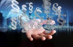 Zakenman die het symbool van de wetsparagraaf het 3D teruggeven gebruiken Royalty-vrije Stock Afbeeldingen