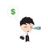 Zakenman die het teken van de gelddollar met telescoop of verrekijkers zoeken Stock Foto's