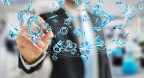 Zakenman die het vliegen de interface 3D renderi gebruiken van de netwerkverbinding Stock Afbeeldingen