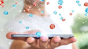Zakenman die het vliegen de verbinding van netwerkballen het 3D teruggeven gebruiken Royalty-vrije Stock Afbeeldingen