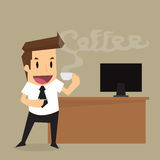 Zakenman die hete koffie in ontspanning drinken Stock Afbeelding