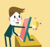 Zakenman die ideeën van Sociale inhoud vinden vector illustratie