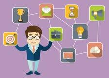 Zakenman die klantrelatiebeheer voorstellen Systeem om interactie met huidige en toekomstige klanten te beheren royalty-vrije illustratie