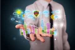 zakenman die kleurrijk hand getrokken metropolitaans ci voorstellen Stock Afbeeldingen