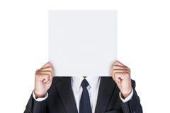 Zakenman die leeg document houden Stock Foto