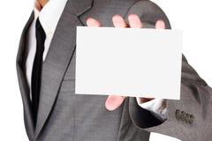 Zakenman die leeg document houden Royalty-vrije Stock Afbeelding