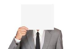 Zakenman die leeg document houden Royalty-vrije Stock Fotografie