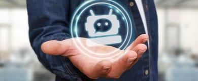 Zakenman die met chatbottoepassing het 3D teruggeven babbelen Stock Foto