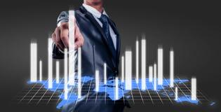 zakenman die met 3d grafiek, bedrijfsstrategie werken Stock Foto