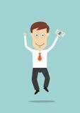 Zakenman die met in hand geld springen Stock Afbeeldingen