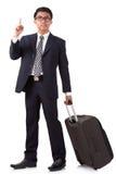 Zakenman die met koffer lopen en smartphone gebruiken stock fotografie