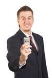 Zakenman die mobiele telefoon met behulp van Stock Foto's