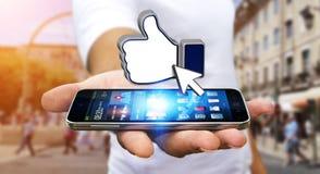Zakenman die modern sociaal netwerk gebruiken Stock Afbeeldingen