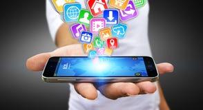 Zakenman die moderne mobiele telefoon met behulp van Stock Fotografie