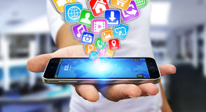 Zakenman die moderne mobiele telefoon met behulp van Stock Afbeelding