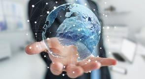 Zakenman die mondiaal net bij aarde het 3D teruggeven houden Royalty-vrije Stock Afbeelding