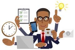 Zakenman die multitasking, Afrikaanse Zwarte Amerikaan doen, vector illustratie