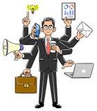 Zakenman die multitasking, Hogere superieure uitstekend uitvoert stock illustratie