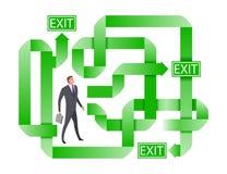Zakenman die naar de juiste uitweg zoeken Betwijfelende zakenman die de beste oplossing selecteren vector illustratie
