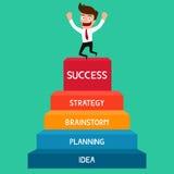 Zakenman die naar succes, trap aan succes stijgen Stock Afbeeldingen