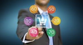 Zakenman die online winkelen Stock Afbeelding