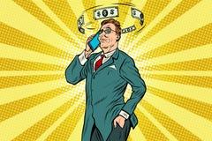 Zakenman die op de telefoon over financiën spreken vector illustratie