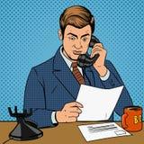 Zakenman die op de telefoonvector spreken vector illustratie