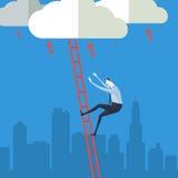 Zakenman die op een ladder aan wolk beklimmen Royalty-vrije Stock Afbeelding