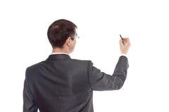 Zakenman die op een witte achtergrond trekken Stock Foto's