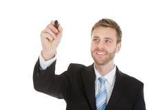 Zakenman die op het onzichtbare scherm met teller schrijven Stock Foto
