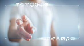 Zakenman die op Internet met digitale tastbare interface 3 surfen Stock Afbeeldingen