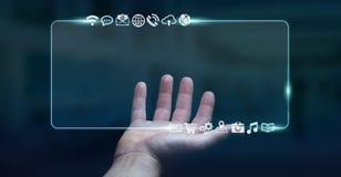 Zakenman die op Internet met digitale tastbare interface 3 surfen Royalty-vrije Stock Afbeeldingen