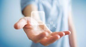 Zakenman die op Internet met digitale tastbare interface 3 surfen Royalty-vrije Stock Foto's
