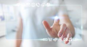 Zakenman die op Internet met digitale tastbare interface 3 surfen Stock Foto