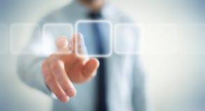 Zakenman die op Internet met digitale tastbare interface 3 surfen Royalty-vrije Stock Afbeelding