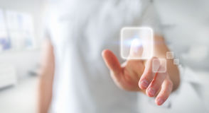 Zakenman die op Internet met digitale tastbare interface 3 surfen Stock Afbeelding
