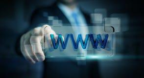 Zakenman die op Internet surfen die tastbare website 3D bar gebruiken Royalty-vrije Stock Afbeelding
